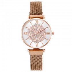 Reloj oro rosa fondo blanco...