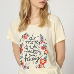 Camiseta mensaje  beige has...
