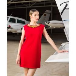 Vestido corto rojo manga...